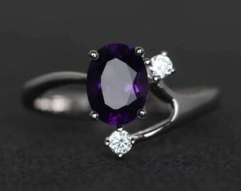 purple amethyst ring oval amethyst engagement ring gemstone ring sterling silver February birthstone ring three stone ring