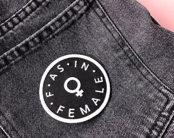 F As In Female Feminist Iron On Embroidered Patch - Proceeds support female advocacy groups