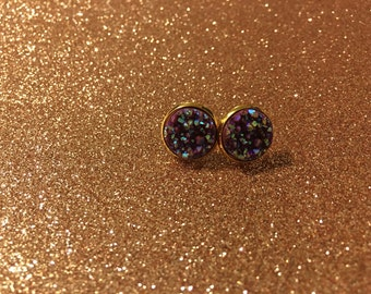 Dark maroon druzy earrings