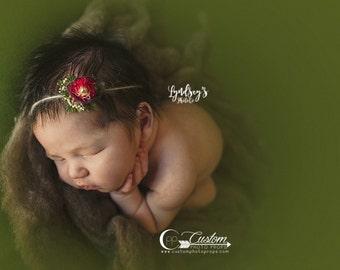 Ashland Red Flower Tie Back Headband for Baby Girls, Newborn Tie Back Headband Photo Props, Newborn Baby Props, Custom Photo Props