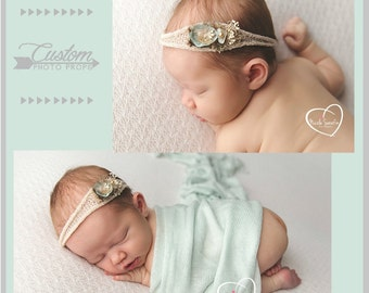 Opal and Co. Newborn Headband & Wrap Set, Newborn Photo Props, Baby Wrap with Matching Handmade Headband, Photography Props, Baby Props