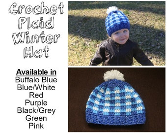 Crochet Plaid Winter Hat - Infant, Newborn, Baby, Toddler, Kid, Adult