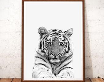 Animal Print, Tiger Art Print, Animal Safari, Animals Print, Safari Nursery, Tiger Photo, Black and White, Tiger Wall Art, Tiger Printable