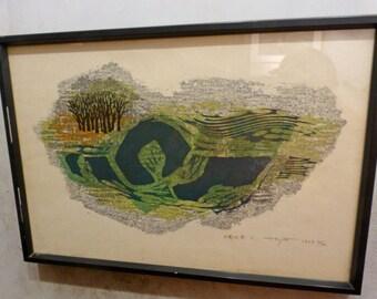 Fumio Fujita Oban Yoko-E Abstract Landscape Japanese Wood Block Print 1969 53/200