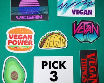 VEGAN STICKER DEAL - Pick 3 & Save - Vegan Die Cut Sticker Set - Badge Decal Bumper Sticker