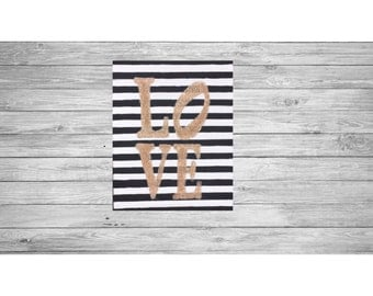 L-O-V-E Striped Glitter Canvas