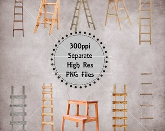Wooden Ladder Overlays, Separate Png Files with Transparent Backing, Instant Download.