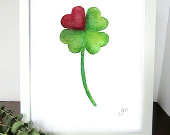 Four Leaf Clover Heart Watercolor Print - Wall Decor - Lucky Love Charm - Anniversary Gift - Gift for Her - Gift for Him