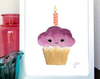 CLEARANCE < Purple Cupcake Watercolor Print > CLEARANCE