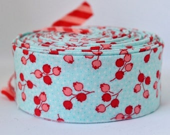 "Quilt Binding- Floral - Tuplip - Aqua - Little Ruby by Bonnie and Camille for Moda 1.25"" double-fold cotton quilt binding - 7 yard roll"