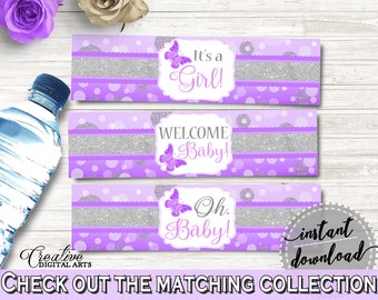 Bottle Labels Baby Shower Bottle Labels Butterfly Baby Shower Bottle Labels Baby Shower Butterfly Bottle Labels Purple Pink prints 7AANK