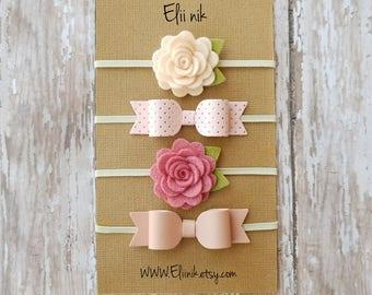 Baby headband set , flower headband, bow headband, baby bow headband, Newborn headband set, baby flower headband, set of 4 baby headband
