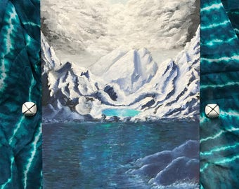 Emerald Heart--Icy Mountains, Clouds and Water Medium Fantasy Landscape Acrylic Painting