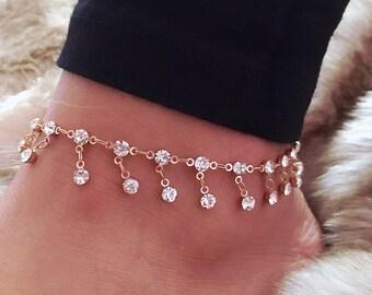 Gold Diamond Anklet - Gift for her