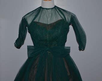 1950s/60s Emerald Prom Dress | Formal Gown | Homecoming | Tulle Full Skirt Dress
