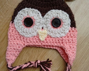 Hand Crocheted Owl Hat (Baby and Toddler sizes)