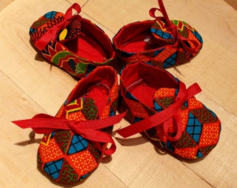 Orange Red Blue Abstract African Wax Print Baby Booties
