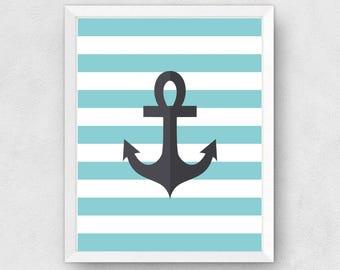 Ahoy Anchor Print, Digital Print, Instant Download, Nursery Print, Nautical Nursery Art Print, Anchor Print, Kids Room Decor - (D038)