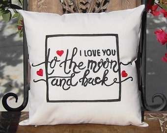 Embroidered Pillow Covers-FREE SHIPPING- I love you too the moon and back, to the moon  Anniversary Lovers Gift for him her Valentine