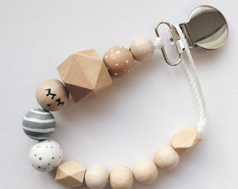 Hand-painted dummy with geometric wooden beads - gray, nude, white