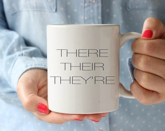 Funny teacher mug, funny gift for teacher, they their they're mug, grammar mug, teacher coffee cup, teacher christmas gifts