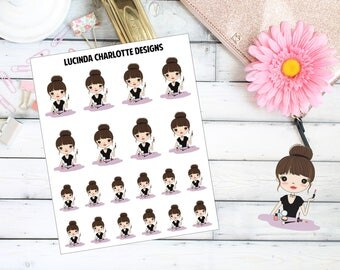 Make-up/Cosmetics/Beauty - Brown Hair Girl Character - Planner Stickers