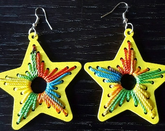 Yellow wood multicolor string star shape earrings
