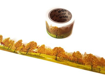 Meetape Autumn Washi Tape, Fall Washi, Golden Trees, Nature Themed Tape, Craft Tape, Paper Crafts, Planner Accessories, Journal Supplies