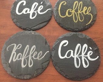 Hand Lettered Coffee Coasters