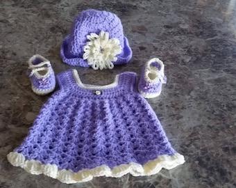 Purple baby crochet set