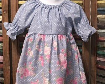 Girls peasant dress, Blue pokkadot dress, Girls spring dress, Boho girl dress, Toddler dress,  Size 2T girls dress, Girls summer dress, #186