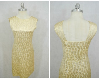 1960s Vintage Dress | Jean Allen Gold Vintage Dress | 1960s Vintage Gold Wiggle Dress | Vintage Brocade Dress