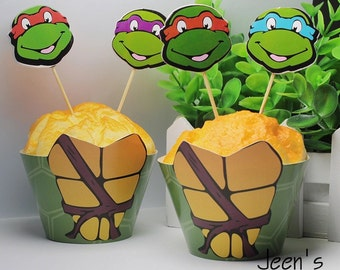 12 sets ninja turtle cupcake toppers and wrappers (12 toppers +12 wrappers) ninja turtle party decoration