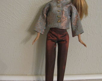 Barbie doll clothes-silk capris with silk jacket top