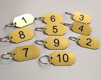 Set of 10 Numbered key tags ideal for clubs, leisure centres, school