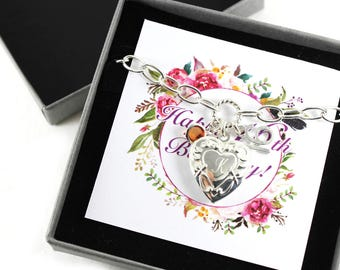 Personalized 16th Birthday Birthstone Initial Heart Locket Bracelet, Birthday Keepsake Gift.