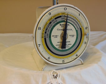 Vintage Hanson RARE Cook O Meter Scale, Dial Face w/ Measurements, 10 LB, Food Chart on Back, Very Collectible and Rare Farmhouse Kitchen