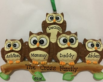 Owls Personalized Christmas Ornament - Family of Five, Grandparents, Grandkids