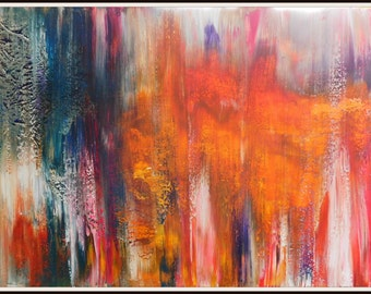 """Original Abstract Painting - Lake of Colours 30""""x20"""" (76x51cms) Original Acrylic Painting on Deep Edged Canvas"""