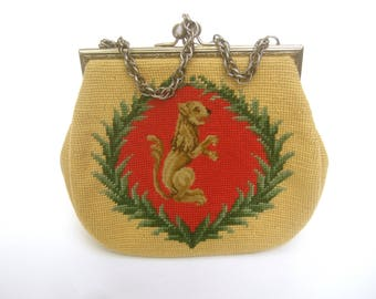 Unique Needlepoint Lion Handbag c 1960