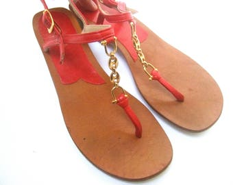 GUCCI Italy Red Leather Chain Strap Sandals Size 36