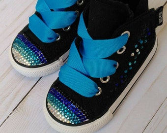 Bling baby girl toddler high top converse shoes black and blue