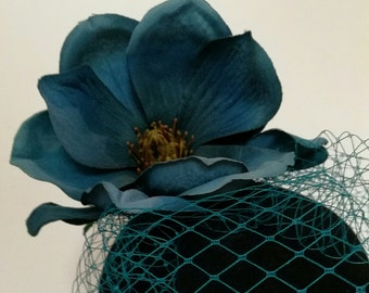 Teale Silk Fascinator Silk Flower Netting Veil Blush HairClip Fascinator Modern Pinup
