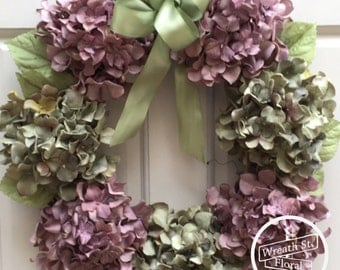 Hydrangea Wreath, Wreath, Year Round Wreath, Lavender Wreath, Spring Wreath, Wreath Street Floral,  Summer Wreath, Front Door Wreath