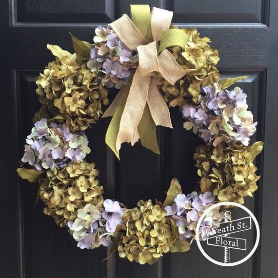 Hydrangea Wreath, Summer Wreath, Everyday Wreath, Wreath Street Floral, Grapevine Wreath, Front Door Wreath,Year Round Wreath, Spring Wreath