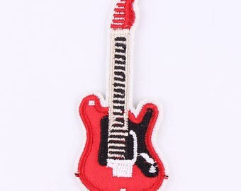 Electric Guitar Iron on Applique, Red Rock Guitar Iron on Patch, Iron-on Application