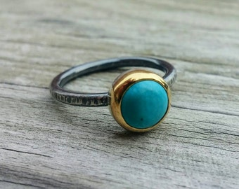 Turquoise Ring * Mixed Metal Ring * Turquoise Jewelry * Metalsmith Jewelry * Turquoise Gem * Artisan Jewelry