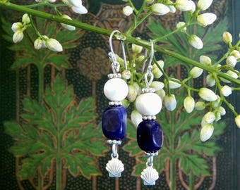 Freshwater Pearl and Sodalite Silver Earrings