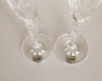 Bridal wine glass charms