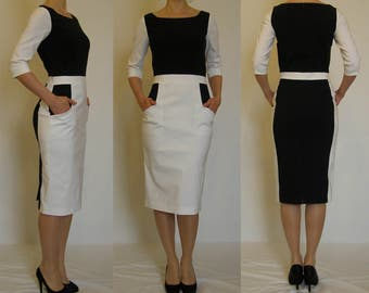 SALE! White, ivory, navy, pencil dress, long sleeves and front pockets. Sizes UK 10, 12, 14 / US 6, 10, 12